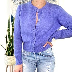 GAP Vintage Blue Button Down Crop Wool Cardigan